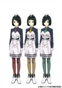 Triplets Addie, Betti, and Cindi from TV anime Kouya no Kotobuki Hikoutai (Kotobuki - The Wasteland Squadron)