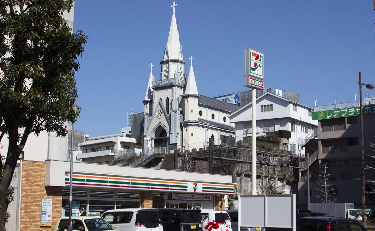 Sasebo Cathedral; Nagasaki Prefecture has strong Catholic ties going back to the late Sengoku Period. During the Edo Period the Hidden Christians kept the faith for 200 years in secret despite being killed if discovered.